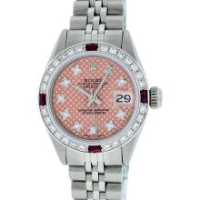 Rolex Stainless Steel VVS Diamond and Ruby DateJust Ladies Watch