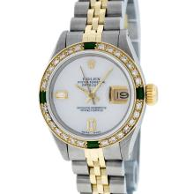 Rolex Two-Tone MOP Diamond and Emerald DateJust Ladies Watch