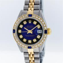 Rolex Two-Tone Blue Vignette Diamond and Sapphire DateJust Ladies Watch