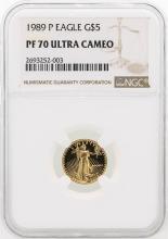 1989-P NGC PF70 Ultra Cameo $5 Eagle Gold Coin