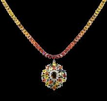 79.54 ctw Multicolor Sapphire and Diamond Necklace - 14KT White Gold