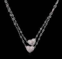 0.40 ctw Diamond Heart Necklace - 14KT White Gold