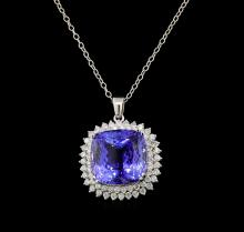 GIA Cert 35.28 ctw Tanzanite and Diamond Pendant With Chain - 14KT White Gold