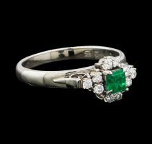 0.29 ctw Emerald and Diamond Ring - Platinum