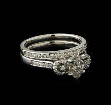 1.49 ctw Diamond Wedding Ring Set - 18KT White Gold