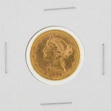 1881 $5 BU Liberty Head Half Eagle Gold Coin