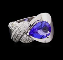 2.10 ctw Tanzanite and Diamond Ring - 14KT White Gold