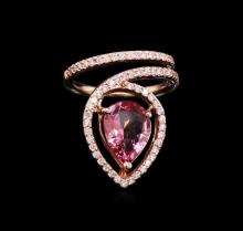 2.36 ctw Pink Tourmaline and Diamond Ring - 14KT Rose Gold