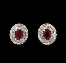 14KT White Gold 2.07 ctw Ruby and Diamond Earrings