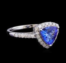 1.34 ctw Tanzanite and Diamond Ring - 14KT White Gold