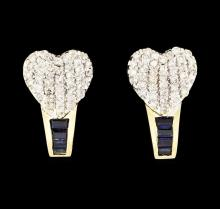 0.20 ctw Sapphire and Diamond Heart Earrings - 14KT Yellow Gold