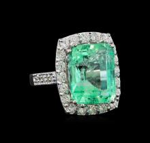GIA Cert 9.44 ctw Emerald and Diamond Ring - 14KT White Gold