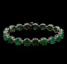 14KT White Gold 20.90 ctw Emerald and Diamond Bracelet
