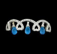 15.00 ctw Blue Topaz And Diamond Bangle Bracelet - 18KT White Gold