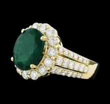 3.60 ctw Emerald and Diamond Ring - 14KT Yellow Gold