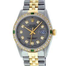 Rolex Mens 2T Yellow Gold & SS Slate Grey Diamond And Emerald Datejust Wristwatc
