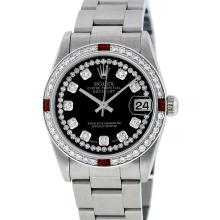 Rolex Stainless Steel Diamond and Ruby DateJust Midsize Watch