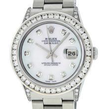 Rolex Mens SS Diamond Lugs 3.2 Ctw MOP Diamond Oyster Band Datejust Wristwatch