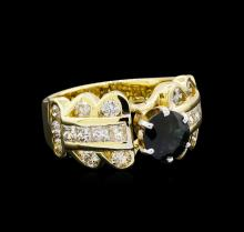 1.41 ctw Sapphire and Diamond Ring - 18KT Yellow Gold