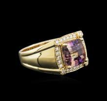14KT Yellow Gold 4.51 ctw Ametrine and Diamond Ring