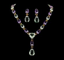 214.25 ctw Multi Gemstone Earrings and Necklace Suite - 18KT White Gold
