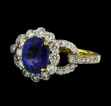 2.40 ctw Sapphire and Diamond Ring - 18KT Yellow Gold