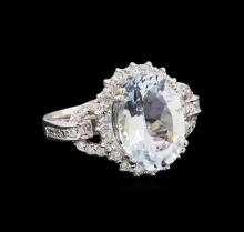 4.70 ctw Aquamarine and Diamond Ring - 14KT White Gold