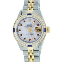 Rolex Two-Tone Ruby and Sapphire Channel Set Diamond DateJust Ladies Watch