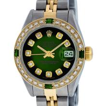 Rolex Ladies 2T Green Vignette Emerald And Diamond Datejust Wristwatch