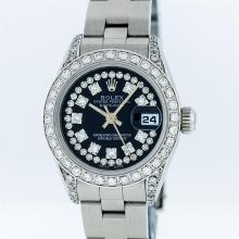 Rolex SS Black String VVS Diamond Oyster Band DateJust Ladies Watch