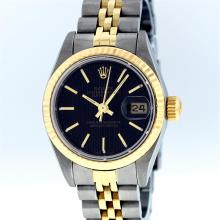 Rolex Two-Tone Black Tapestry Index Jubilee Band DateJust Ladies Watch