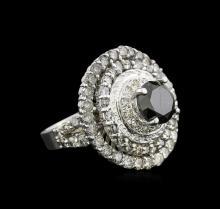 7.14 ctw Black Diamond Ring - 14KT White Gold