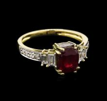 GIA Cert 2.51 ctw Ruby and Diamond Ring - 18KT Yellow Gold