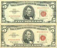 1963 $5 VG/XF Red Seal Note Lot of 2
