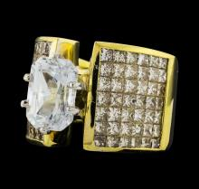4.44 ctw White Sapphire and Diamond Ring - 18KT Yellow and White Gold