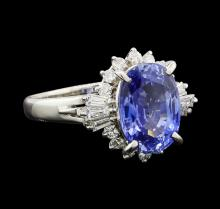 4.92 ctw Sapphire and Diamond Ring - Platinum