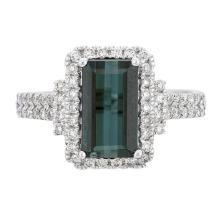 1.67 ctw Indigo and Diamond Ring - 14KT White Gold