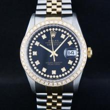 Rolex Two-Tone Black String Diamond VVS  Men's Watch