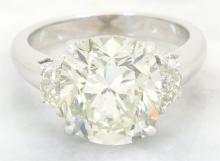 GIA Cert 5.14 ctw Diamond Ring - 18KT White Gold