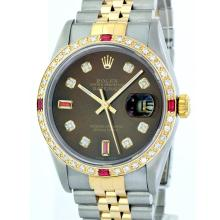 Rolex Two-Tone 1.20 ctw Diamond and Ruby DateJust Men's Watch