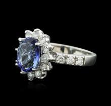 14KT White Gold 3.16 ctw Tanzanite and Diamond Ring