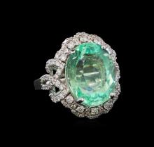 GIA Cert 9.68 ctw Emerald and Diamond Ring - 14KT White Gold