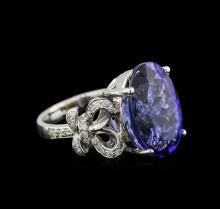 12.47 ctw Tanzanite and Diamond Ring - 14KT White Gold