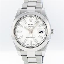 Rolex Stainless Steel White Index DateJust Men's Watch