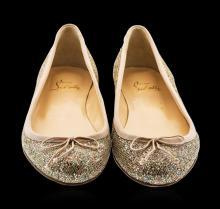 Ladies Christian Louboutin Gozul Strass Glitter Flats