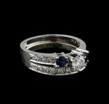 0.70 ctw Diamond and Sapphire Wedding Ring Set - 14KT White Gold