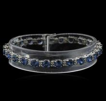 15.60 ctw Blue Sapphire and Diamond Bracelet - 14KT White Gold