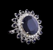 12.92 ctw Sapphire and Diamond Ring - 14KT White Gold