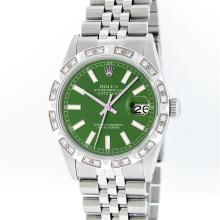 Rolex Stainless Steel Green Index Pyramid Diamond DateJust Men's Watch