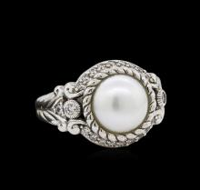 Sterling Silver Pearl and Cubic Zirconia Judith Ripka Ring